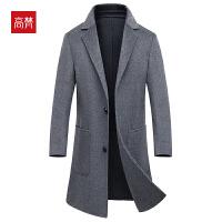 【1件3折到手价:350元】高梵2019秋冬新款羊毛外套纯色翻领中长款双面呢大衣男7136F