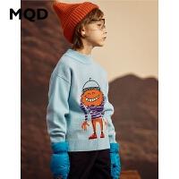 MQD童装男童2019冬季冬装半高领中大儿童图案保暖加厚打底衫毛衣