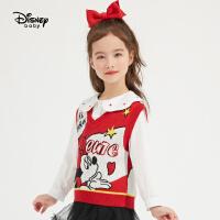 【4折券后价:63.4元】迪士尼女童红色毛衣背心2021春装洋气童装儿童宝宝马甲拜年服