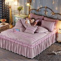 磨毛四件套蕾丝床裙款公主风被套纯色婚庆床罩1.8m1.5米床上用品4定制