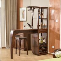 【新品】黑胡桃木实木酒柜中式玄关隔断柜间厅储物柜家具现代简约时尚吧台 组装 框架结构