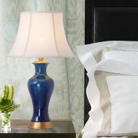 美式乡村陶瓷台灯温馨卧室床头北欧大号客厅书房花瓶装饰全铜台灯
