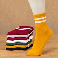 秋冬天女士袜子女装保暖简约棉袜条纹女袜舒适女生厚袜