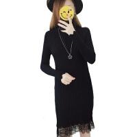 毛衣女加绒加厚2018秋冬季新款半高领羊毛衫蕾丝中长款针织连衣裙