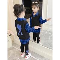 2019新款韩版儿童衬衫裤子两件套女孩子洋气衣服女童春装套装