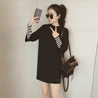 法式针织毛衣连衣裙秋冬季少女初恋气质复古加厚酷酷的桔梗裙 黑色