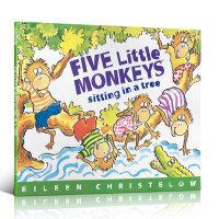 Five Little Monkeys Sitting in a Tree五只小猴子坐在树上 Eileen Christelow 廖彩杏推荐绘本 幼儿启蒙认知英文原版亲子读物 平装大开本 送音频