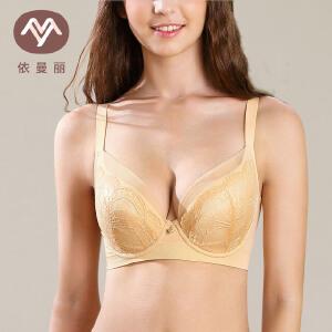 依曼丽透气大码文胸薄款 大胸显小全罩杯包容内衣翩跹芭蕾YK17612