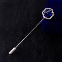 男士胸针 蓝色水晶胸花 插针式一字别针 围巾扣西装配饰女
