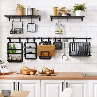 【好货】黑色厨房置物架壁挂太空铝厨卫挂件挂杆刀架调味料收纳架 黑层架710mmxmm