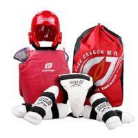 儿童加厚跆拳道护具全套五件套头盔武术搏击粘扣式护具红色