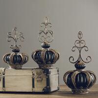 装饰品摆件创意客厅酒柜摆设家居饰品树脂工艺品美式复古北欧树脂皇冠三件摆件