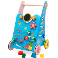 多功能学步车婴幼儿童宝宝木制质玩具生日礼物 红色