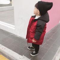男童棉衣中长款冬装新款男宝宝棉袄外套男童洋气加厚 红色 90建议身高75-90厘米