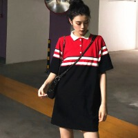 chic撞色条纹短袖针织衫女春季新款韩版学生百搭polo领连衣短裙子