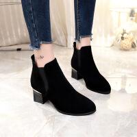短靴女秋冬季新款高跟鞋韩版百搭黑色尖头裸靴女粗跟马丁靴潮 黑色薄绒