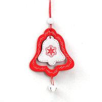 圣诞树装饰品小挂件木质铃铛五角星房子圣诞挂饰节日装饰用品 铃铛