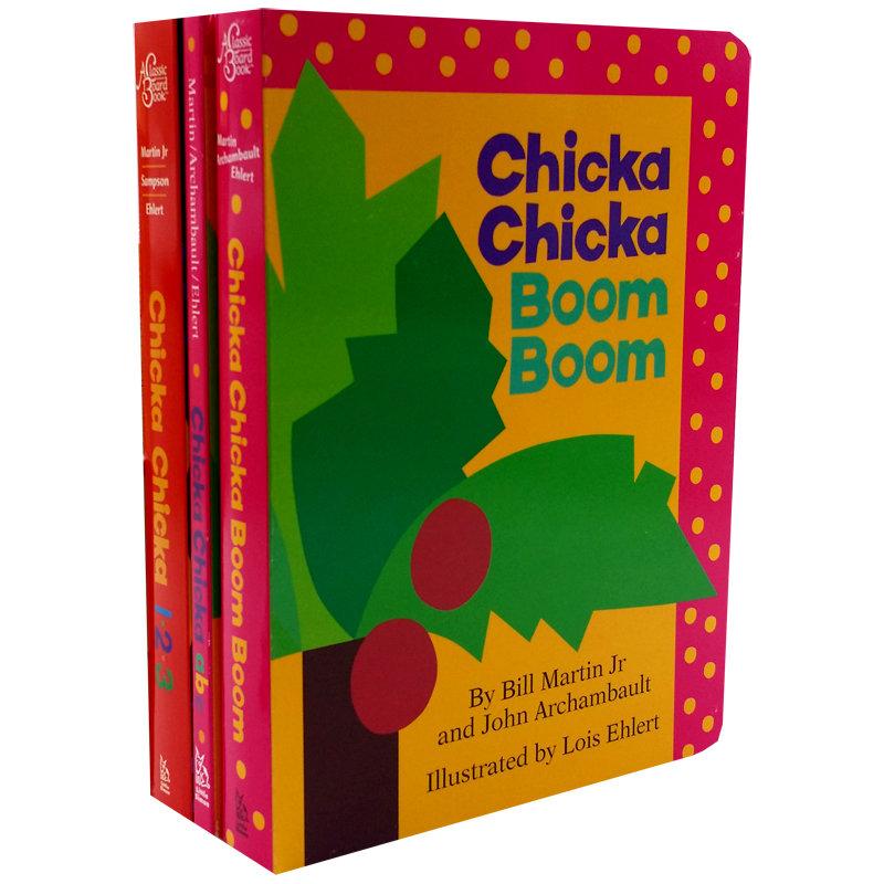 让26个字母鲜活起来 Chicka Chicka系列3本纸板书套装Chicka Chicka Boom Boom abc 123 叽喀叽喀  幼儿启蒙认知 英文原版童书家长们推荐经典有趣读物