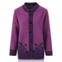 秋冬外套中老年女装毛衣女春秋奶奶装特大码针织衫开衫宽松混纺羊毛衫