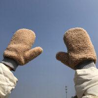 艾佳微手套女冬季新款加厚保暖加绒可爱羊羔绒挂脖包指男骑车防风