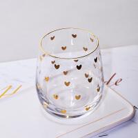 网红金心玻璃杯ins风高颜值透明茶杯大肚牛奶北欧风金边杯子家用
