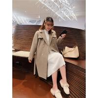大码女装胖MM2019冬装新款韩版翻领风衣外套胖妹妹长款毛呢大衣潮