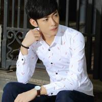 2015秋季季新款日系小清新羽毛韩版修身名品休闲男士衬衫 男士韩版修身长袖衬衫