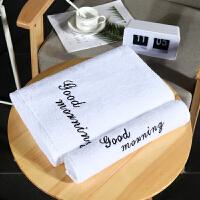 浴巾纯棉女柔软可爱家用韩版毛巾大号吸水网红款酒店个性全棉 白色 早安(套装 140x70cm