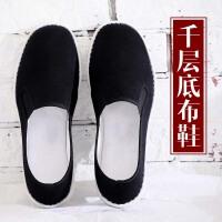 老北京布鞋男牛筋底手工千层底布鞋男透气轻便休闲中老年人爸爸鞋