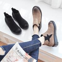 ZHR2018冬季新款网红短靴子女鞋内增高韩版百搭切尔西靴平底裸靴