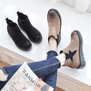 ZHR网红短靴子女鞋内增高韩版百搭切尔西靴平底裸靴2018冬季新款