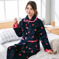 女士冬季珊瑚绒夹棉睡衣女保暖三层加厚加绒法兰绒家居服套装