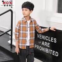 2019新款韩版儿童春秋红色格子男孩洋气衬衣童装男童春款长袖衬衫