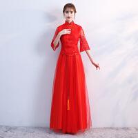 敬酒服新娘2018新款秋冬季中式长款红色结婚旗袍晚礼服裙修身嫁衣 X
