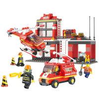 小鲁班  益智积木拼插玩具 拼装玩具 拼插模型 消防中心紧急出动 急速火警B0225
