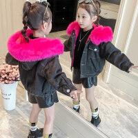 女童大衣童装女童秋装牛仔外套2018新款韩版潮时髦秋冬装儿童时尚洋气大衣MYZQ66 黑色