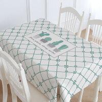 北欧仙人掌小清新餐桌布棉麻长方形简约餐厅防水大理石纹桌布垫