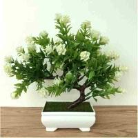 仿真植物假花塑料花套装家居装饰品摆件室内餐桌客厅插花艺小盆栽 浅灰色 多叉玫瑰白