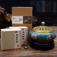景泰蓝香炉纯铜檀香线香炉供佛家用室内净化空气盘香熏香炉