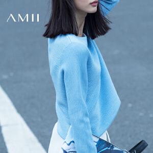 【品牌团 1件7折/2件5折】AMII[极简主义]秋冬装新品短款圆领长袖针织套头毛衣女装