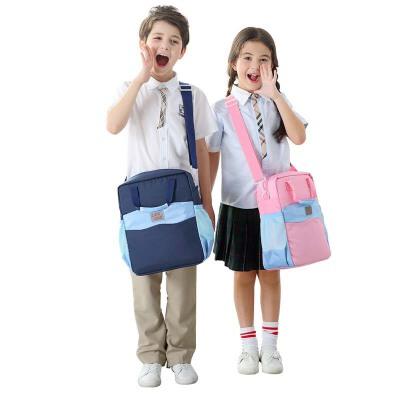 儿童斜挎包男小学生帆布补习手提拎书袋美术包补课书包
