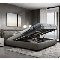 布艺床可拆洗 简约现代双人床18米布床榻榻米实木床婚床主卧家具 +乳胶床垫+2个床头柜 1800mm*2000mm 组装