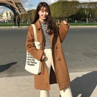 韩版反季大码宽松中长款长袖毛呢子外套大衣冬季加棉厚学生女士潮