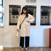 秋冬新款韩版学生宽松显瘦毛呢外套风衣中长款复古毛呢大衣外套女 均码