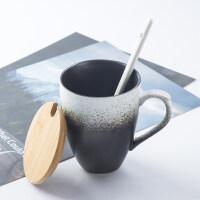 【新品热卖】复古简约日式马克杯文艺ins带盖勺陶瓷杯咖啡杯茶杯水杯磨砂杯子