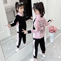 2019新款儿童中大童童装女孩运动两件套女童秋装套装