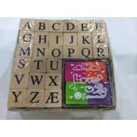 开学必备文具 创意文具 复古木质印章 大写英文字母木制印章