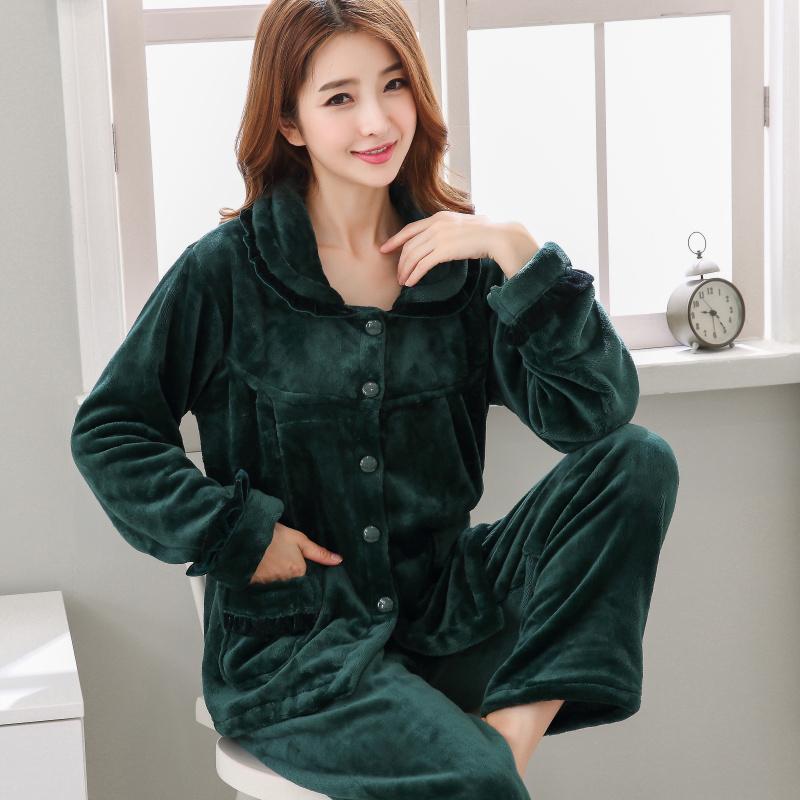 秋冬季珊瑚绒睡衣女士开衫加厚保暖法兰绒长袖休闲家居服套装大码