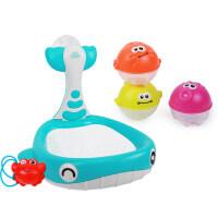 婴儿戏水玩具 儿童宝宝鲸鱼捞捞网浴室洗澡玩具喷水套装 鲸鱼戏水玩具套装
