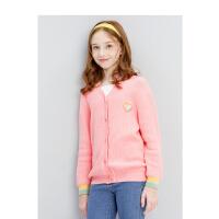 【3件1.5折价:50】笛莎童装女童上衣2021春季中大童儿童小女孩洋气撞色针织开衫